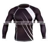 Custom Logo And Design Print Digital Sublimation BJJ MMA Rash Guards Supplier, Black And White Long Sleeves Rash Guard 01 Color