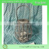 Round rustic candle lanterns/Rattan wire lantern Handled/Antique grey wood candle lanterns