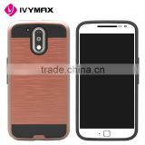 IVYMAX Top quality mobile phone accessories hard brushed metal PC armor case for MOT G4                                                                                                         Supplier's Choice