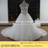 Real Sample Ball Gown Sweetheart Crystal Muslim Wedding Dress 2015