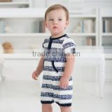 DB1034 wholesale davebella 2014 summer new arrival 100% cotton printed baby rompers clothes baby coverall baby striped jumpsuit