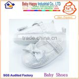 Plain white Rhinestone baptism baby shoes for baby girl