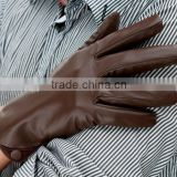 men's winter sheepskin brown color leather gloves
