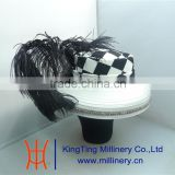 Fashion Church Hat Wholesale Black/White Color With Fancy Feather BM-5006