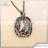 hot sale 2014 new products jewelry sliver plated ellipse hollow metal pendant chains necklace