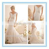 2014 New Fashion Venice Lace Appliques on Net Edged with Crystal Beading & Taffeta Waistband Egypt Wedding Dress (WDBG-2608)