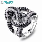 Sterling Silver Micro Pave Black & White CZ Fashion Knot Fashion Ring