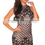 Black Woman Nightclub Sleeveless halter Party Nude Illusion Dreamy Lace Up Back Mini Dress PW- LC22736