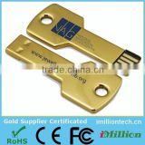 Hot Sale Free Sample 8gb gold key usb stick for Promotional Gift