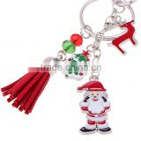 In Stock Wholesale Christmas Tree Santa Claus Key Chain Leather Tassel Charm Key Chain