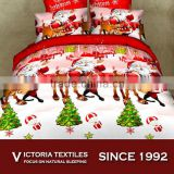 bright color 100% micro fiber super soft bed in bag 4 pieces santa comforter cover set 3D