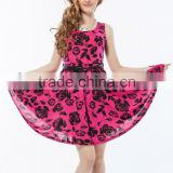 2015 Newest arrival 5 colors in stock flower pattern casual design hot pink nice short dress