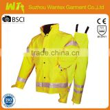 wholesale hi vis workwear coverall suit polyester yellow reflective jacket and pants uniforms workwear dress sets