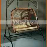 Outdoor Indoor Double Hanging Swing Chair Resin Wicker Material With Stand
