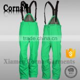 Super ventilation ski pants winter warm keeping green polyester outdoor sport trousers men