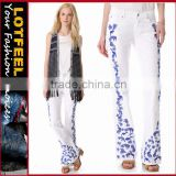 Tropical Embroidered Slim Boot Cut women Jeans pants (LOTX311)