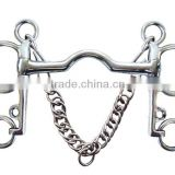 Stainless steel horse Pelham bit with hooks&curb chain,(Type-02)
