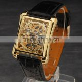 Factory Price Classic Men's Square Leather Gold Dial Skeleton Mechanical Sport Army Wrist Watch
