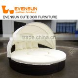 Fashionable rattan/wicker sun lounger round sunbed with adjustable canopy