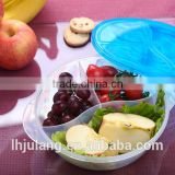 Plastic round food meal bento container 3-Compartment Microwave safe container with lid/divider
