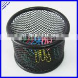 Round black metal mesh pen and paper clip holder