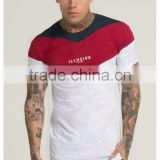 Lightweight 100% Cotton White Red Navy Cut & Sew Scoop Neck Tee Regular Fit Gym T Shirt Bulk Wholesale Paneled T Shirt