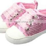 Pink Shiny Sequin Soft Sole New Born Baby Canvas Shoes