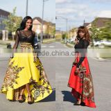 Walson 2017 New trend Floral african print party wear bubble women long skirt with kurti