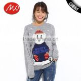 High quality womens novelty christmas knitted bear pattern jumpers sweater with custom wholesale
