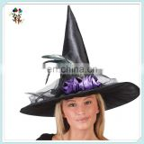 Children Fancy Dress Costume Black Halloween Witch Hats with Feathers HPC-0227