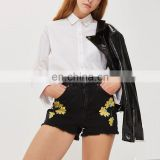 Manufacturer China Black Embroidery Custom Jeans Women Shorts