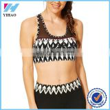 Yihao OEM Service Custom 90% Polyester/10% Lycra Women Sports Bra Wholesale Printed Dry Fit Mesh Decoration Sexy Yoga Bra