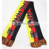 Chinese supplier free size custom logo cool popular printing football fan soccer scarf