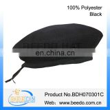 High quality 100% polyester black military beret hat