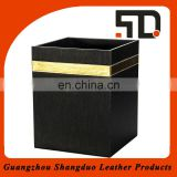 New Style Black Hotel leather square waste Bin