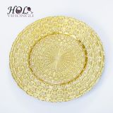 Factory cheap wholesale gold charger plates high quality glass dinner plates