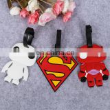 Custom 2d superman soft silicone luggage tag/ rubber bag tag/ pvc luggage tag