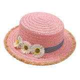 Custom Children Kids Cute Boater Paper Straw Hat Sun Hat