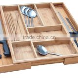 Bamboo Expandable 5-7 Slots Organizer Cutlery Tray for Utensil Utility Accessories Storage