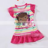 Wholesale New Fashion Doc Mcstuffins girls kids short sleeve summer pink and white dress dresses