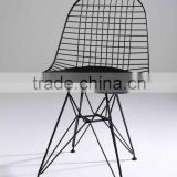 Modern Simple Design Metal Frame Iron Chair Dining Room Or Garden Chair With Leather Cushion