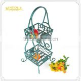 Modern design storage wrought iron 2 tier fruit basket stand