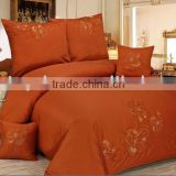 Dark Orange 100% Cotton 300 Thread Count Embroidery Bedding Set