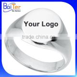Custom Logo Engraved Blank Stainless Steel Men's Signet Ring Wholesale                                                                         Quality Choice