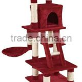Anji Kaifeng popular small colorful Luxury wooden and sisal Cat Tree ,cat Scratching Post KF8024