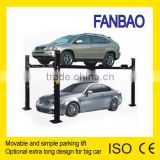 Four Post Car Parking lift rain coat and move with wheels for choicetwo models: standard model and extention model