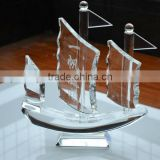 clear crystal sailing boat figurine,antique model sailing boat,decorative glass boats                                                                         Quality Choice