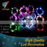 CR2032 Circular Battery Box 1M 10 LEDs 9 Colors Copper Wire 3.3FT Mini Fairy String Lights For Holiday Lighting