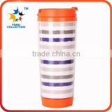 Promotional plastic coffe travel mug double wall plastic thermos coffee mugs tumbler starbucks