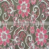 New fashion poly nylon high quality lace fabric for garment;wholesale knit french flower lace fabric